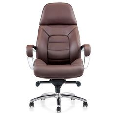 Gates Genuine Leather Aluminum Base High Back Executive Chair | Zuri Furniture