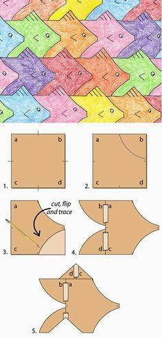 Ontwerp een Escher patroon. Ga zelf op internet opzoek naar de wiskundige methode achter het principe.