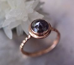 Diamond engagement ring in 14k rose gold, 2+ carat round rose cut chocolate diamond