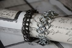 Half persian 3 in 1 chainmail bracelet and european 4 in 1 chainmail bracelet. My selfmade chainmail is also on facebook @ Ivy's Scale Mail