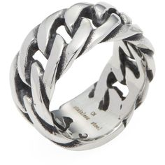 Ed Jacobs by Degs & Sal Men's Stainless Steel Chain Link Ring - Silver ($65) ❤ liked on Polyvore featuring men's fashion, men's jewelry, men's rings, silver, mens watches jewelry, mens cuban link chain, mens chains, mens rings and mens silver rings