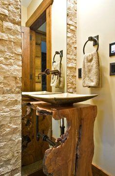 waschtisch holz baumstamm rustikal aufsatzwaschbecken