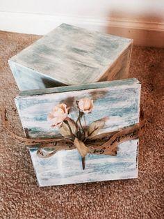 Shabby Chic Box: carboard box recycle, refurbish, up cycle, thrift store find, trash to treasure. handmade, hand painted storage DIY box.