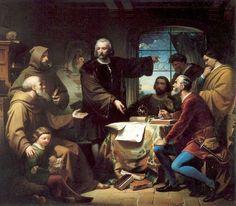 Columbus at Rabida. Painting by Eduardo Cano de la Peña