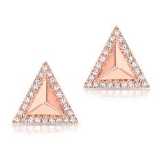 14KT Rose Gold Diamond Triangle Pyramid Stud Earrings ($495) ❤ liked on Polyvore featuring jewelry, earrings, triangle diamond earrings, triangle earrings, triangular earrings, pink gold earrings and earrings jewelry