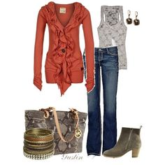 """rust! What a great color and lovin the fact that it's a """"fancy"""" sweatshirt.  I'd do flats or even flip flops:)"""