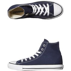 Converse Womens Chuck Taylor All Star Hi Top Shoe ($74) ❤ liked on Polyvore featuring shoes, sneakers, blue, converse, footwear, hi tops, womens footwear, blue shoes, converse shoes and high top shoes