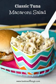 Classic Tuna Macaroni Salad {Tastes of Lizzy T} Lightened up with yog or fromage frais/quark :) WTF is miracle whip? Summer Side Dishes, Side Dishes Easy, Side Dish Recipes, Main Dishes, Summer Salad Recipes, Summer Salads, Tuna Macaroni Salad, Tuna Pasta, Great Recipes