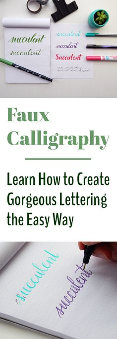 Looking at all the images of beautiful lettering online, it can be a bit daunting to get started. What materials do you need? With faux calligraphy, you can learn the basic principles of calligraphy without buying expensive materi Creative Lettering, Brush Lettering, Bibel Journal, Calligraphy Letters, How To Write Calligraphy, Easy Caligraphy, Easy Fonts To Write, Calligraphy Practice, Calligraphy Handwriting