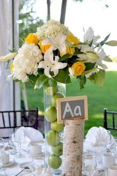 white flowers with pops of yellow and green, maybe math equations (2+2=4) instead of alphabet