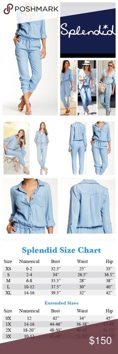 """Splendid Light Indigo Chambray Jumpsuit.  NWT. Splendid Light Indigo Wash Chambray Jumpsuit, 100% lyocell, machine washable, 18"""" armpit to armpit (36"""" all around), 30"""" elastic waist which stretches up to 36"""", 18"""" arm inseam, 27"""" leg inseam, 56.5"""" length, 11"""" elastic cuffs which stretches up to 12"""", spread collar, front button partial closure, long sleeves with single barrel cuffs and button up tab, one chest pocket, banded drawstring waist, two front curved pockets, banded cuffs…"""