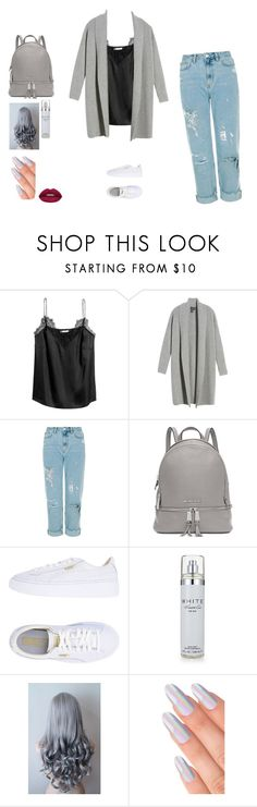 """Gray"" by danielle-sitte on Polyvore featuring Halogen, Michael Kors, Puma, Kenneth Cole and Huda Beauty"