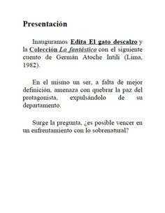 Edita El gato descalzo 1: Mudanza obligada de Germán Atoche Intili. Presentación. Descárgalo gratis en: http://elgatodescalzo.wordpress.com/2012/05/04/e-book1/