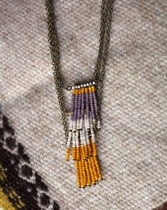Lavender Mustard Tri Level Beaded Necklace $35 from Papavier on etsy