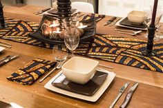 House of Arike,  #tablescapes #ankara #africanprint #dinner #lunch #food #diningtable #tablesetting #placemats #africaninspired