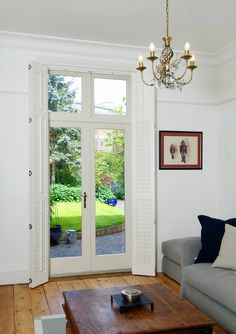 French doors with toplights, finished in Cream with a Polished Chrome Chatsworth handle. Manufactured in Engineered European Redwood. Leadlight Windows, Folding Patio Doors, Timber Door, French Doors Patio, Polished Chrome, Family Room, Cottage, Modern, Room Ideas