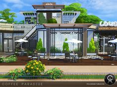By Pralinesims Found in TSR Category 'Sims 4 Community Lots' The Sims 4 Lots, Sims 4 House Building, Sims 4 Houses, Paradise, Community, Mansions, Coffee, House Styles, Outdoor Decor