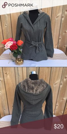 Selling this Faux Fur Hooded Wrap Tie Jacket on Poshmark! My username is: revolvingrack. #shopmycloset #poshmark #fashion #shopping #style #forsale #Merona #Jackets & Blazers