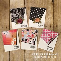 Use your designer prints paper: Part 2. Jill's card creations. Fun Stampers Journey.