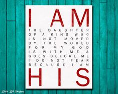 I Am His. Christian Wall Art. Nursery Wall Art. Children's Room Decor. Baby Girl Gift. Gift for Baptism. Gift for Her. Baby Shower Gift.