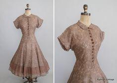 1940s 50s mocha lace cocktail dress