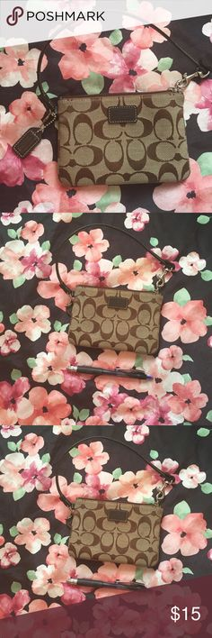Coach wristlet Tan and bronze. In excellent condition. Coach Bags Clutches & Wristlets