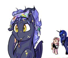 Princess Luna arrives home after a long night of duties to find her son covered in paint and definitely not ready for bedtime. Princess Luna, Mlp, Constellations, Unicorns, Bedtime, My Little Pony, Fandom, Deviantart, Artist