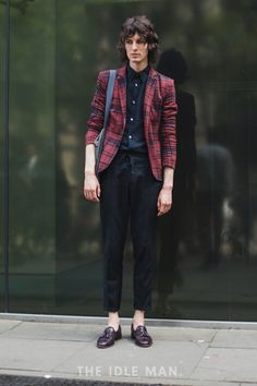 Men's Street Style | Cool Formal - To rock this look, get yourself black cropped trousers, a black shirt and a cool stand out blazers. Add loafers and your good. | Shop the look at The Idle Man