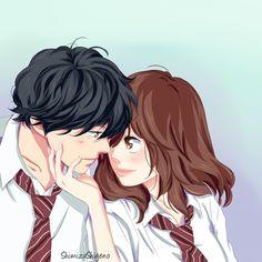 "shimizushigeno: "" Kou x Futaba - Aoharaido by ShimizuShigeno the best couple Manga Love, Manga Girl, Anime Love, Fairy Tail, Anime Chibi, Kawaii Anime, Manga Anime, Kuroko, Boruto"