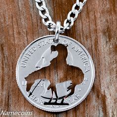 End of trail Necklace western jewelry hand cut coin by NameCoins
