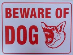 """Beware of Dog Sign 9"""" X 12"""" PVC by NYCPETSUPPLY. $7.99"""