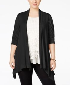 JM Collection Plus Size Open-Front High-Low Cardigan, Only at Macy's | macys.com