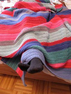 Crochet stripes blanket.