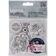 """docrafts Papermania Simply Floral Urban Stamps 4""""X4""""-Birthday"""