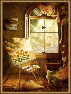 fluturi,pisica,flori gif