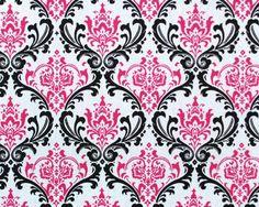 Madison damask print, candy pink/black