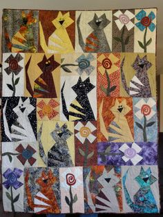Quilt for Cat lovers, Quirky cats, Cat Quilt