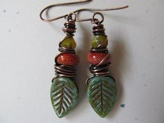 Autumn Leaves Wire Wrapped Earrings by LindaNiemanJewelry on Etsy