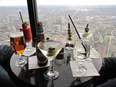 The Signature Lounge at the 95th floor of the John Hancock. One of the highest bars in the world.