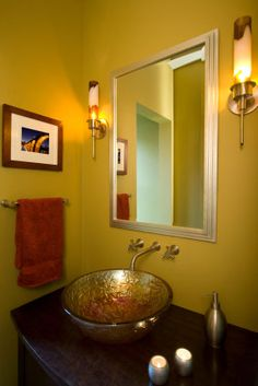 Attrayant Wall Mounted Faucet In Satin Nickel, Glass Sink With Metallic Finish In  Reds, Oranges. Gold BathroomEnsuite ...