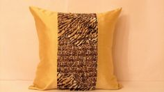 Leopard centre banner   Muslin frill pillow cover 18x18 by SABDECO, €31.00