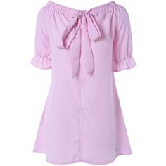 Off Shoulder Bowknot Striped Tunic Dress (€12) ❤ liked on Polyvore featuring dresses, rosegal, striped dresses, pink striped dress, stripe dress, pink dress and pink stripe dress