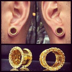Gold Playa Ear Tunnels, Ear Plugs, Ear Gauges, Flesh Tunnels, Scretched lobes, Gauge Jewelry, Piercing Jewelry, Gold Tunnels, Tribal Tunnels by ForbiddenFruitJewel on Etsy https://www.etsy.com/listing/223980462/gold-playa-ear-tunnels-ear-plugs-ear