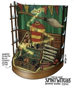 Harry Potter hogsmeade window display concept