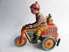 Tin-Wind-Up-Motorcycle-Toy-Trike-1930s-Japan