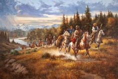 John Colter Trouble with the Blackfeet ~ 1810 by Gerry Metz contemporary artist