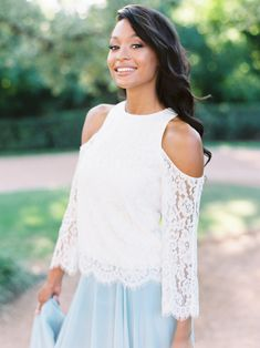 Willow is a belle sleeve lace bridesmaid top that can be paired with any of our bridesmaid skirts. A wonderful addition to our bridesmaid separates collection. Bridesmaid Separates, Lace Bridesmaids, Long Bridesmaid Dresses, Chiffon Skirt, Try On, Lace Tops, Boho Dress, Lace Overlay, Cold Shoulder