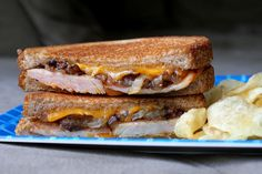 Smoked Ham & Caramelized Onion Grilled Cheese  A grown-up version of a classic, this ham and cheese sandwich will please hungry people everywhere, no matter what age. Source: The Two Bite Club