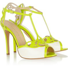 Charlotte Olympia Tiffany neon leather sandals ($975) ❤ liked on Polyvore
