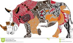 Silhouette Of A Rhinoceros In Ethnic Patterns - Download From Over 30 Million High Quality Stock Photos, Images, Vectors. Sign up for FREE today. Image: 30152375